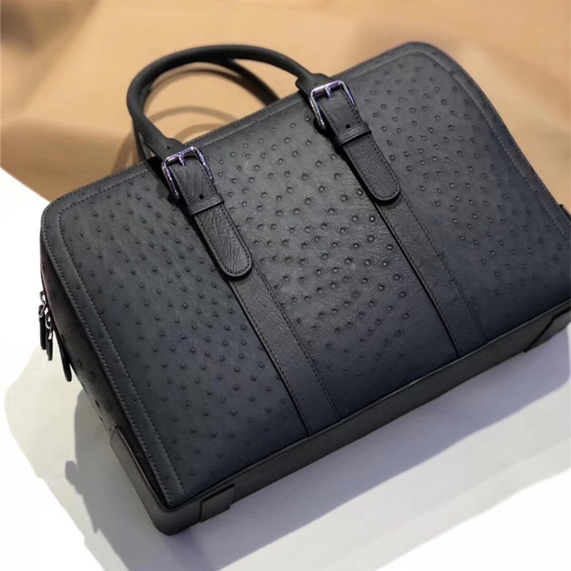 Authentic Real Ostrich Skin Zipper Closure Businessmen Travel Bag Top-handle Handbag Genuine Leather Male Large Working Purse