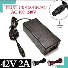 Cargador de batería universal para Hoverboard, cargador de batería universal de 42V y 2A para patinete eléctrico de equilibrio inteligente de 36V, 1 ud.