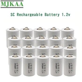 10/12/20 sztuk SC 3400mAh 1.2 V akumulator 1.2 V Sub C NI-CD komórka z zakładkami spawalniczymi do wiertarki elektrycznej śrubokręt