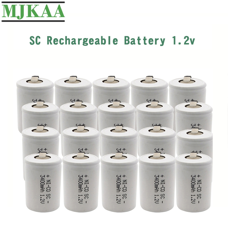 10/12/20PCS SC 3400mAh 1.2V Rechargeable Battery <font><b>1.2</b></font> <font><b>V</b></font> Sub C <font><b>NI</b></font>-<font><b>CD</b></font> Cell with Welding Tabs for Electric Drill Screwdriver image