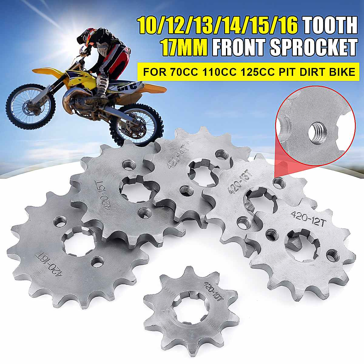 Rueda dentada delantera de 17mm para Mini motocicleta tipo Pit Dirt Bike de 70CC, 110CC, 125cc, 10/11/12/13/14/15/16/17/18/19