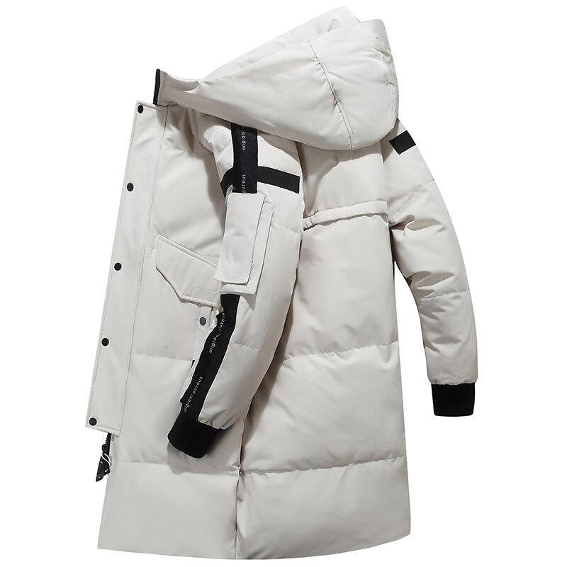 80% de pato branco para baixo jaqueta de neve com capuz para baixo parkas 30 graus rússia inverno para baixo jaqueta masculina moda grossa longo casaco - 4