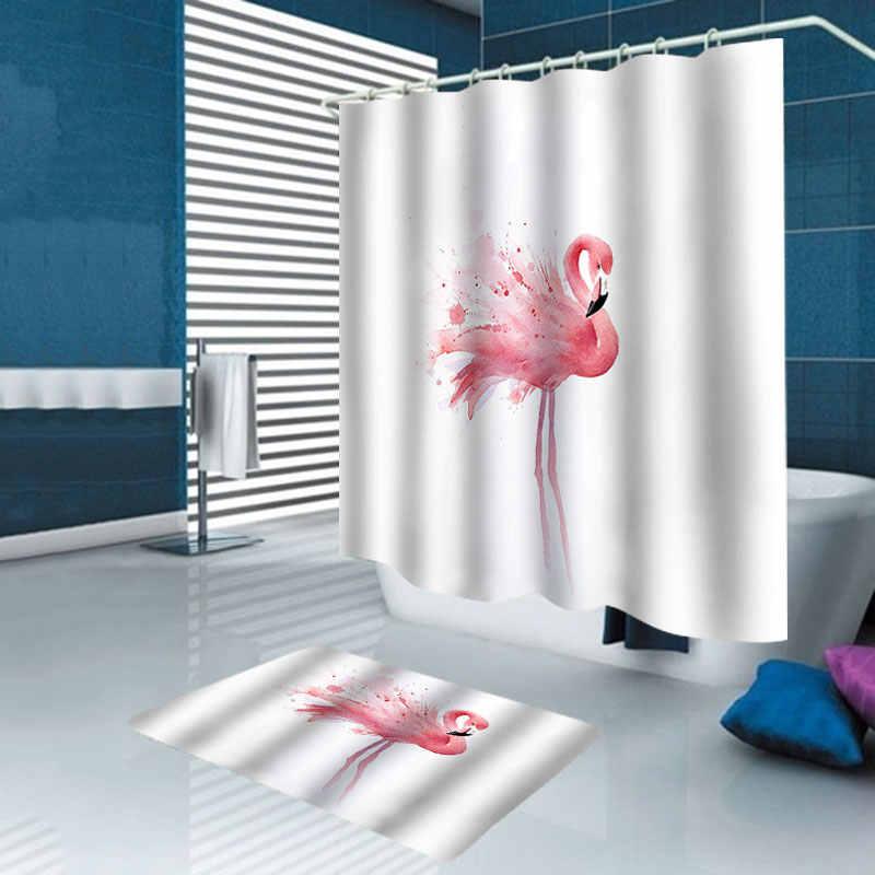 Nordic Foto 'S Polyester Flamingo Waterdichte Badkamer Douchegordijn Wc Cover Badmat Antislip Rug Set met 12 stuks haken