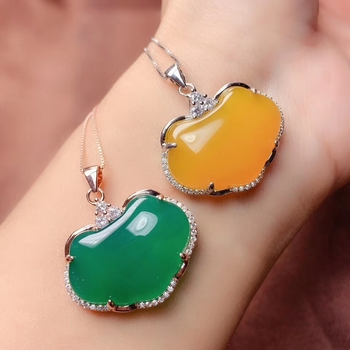 new yellow green chalcedony gemstone pendant of necklace women silver fine jewelry big size natural gem birthday gift sweater