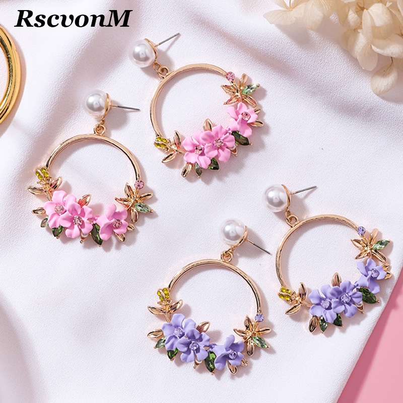 4 Color Trendy Cute Pink Flower Earrings For Women Girls Jewelry Female Rhinestone Gold Metal Round Circle Earrings Gift Brincos