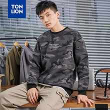 TONLION Mens Camouflage Pullover No Hood Sweatshirts Letter Print Sweatshirt O-Neck Clothes for Male Cool 2020 Spring Fashion
