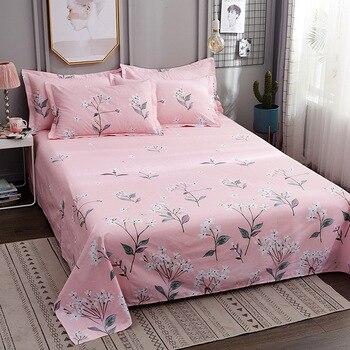 Sábana plana con estampado Floral para niños adultos cama individual doble sábana plana de algodón (sin funda de almohada) XF716-29