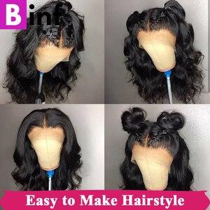 Image 5 - 360, парик на сетке с передней частью, волнистые волосы, предварительно выщипанные детскими искусственными волосами, бразильский парик на сетке 360, цвет 1B для женщин