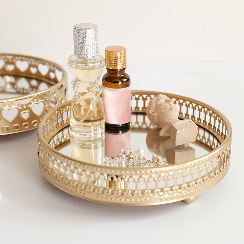 Golden Color Iron Delicate Jewelry Storage Tray Glass Mirror Base Bedroom Desktop Cosmetic Decorative Organize Plate
