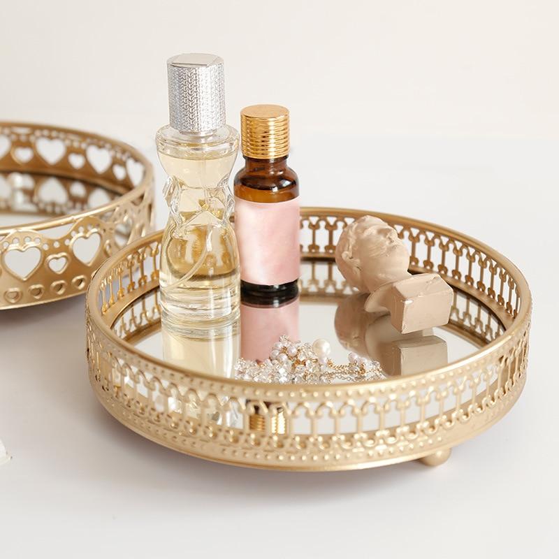Golden Color Iron Delicate Jewelry Storage Tray Glass Mirror Base Bedroom Desktop Cosmetic Decorative Organize Plate
