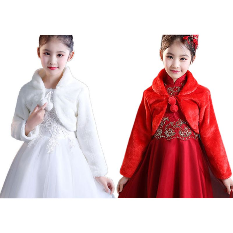 Kids Princess Thicken Plush Wraps Shawl Flower Girls Long Sleeve Bolero Shrug Cape Wedding Birthday Party Jacket With Pompom Tie