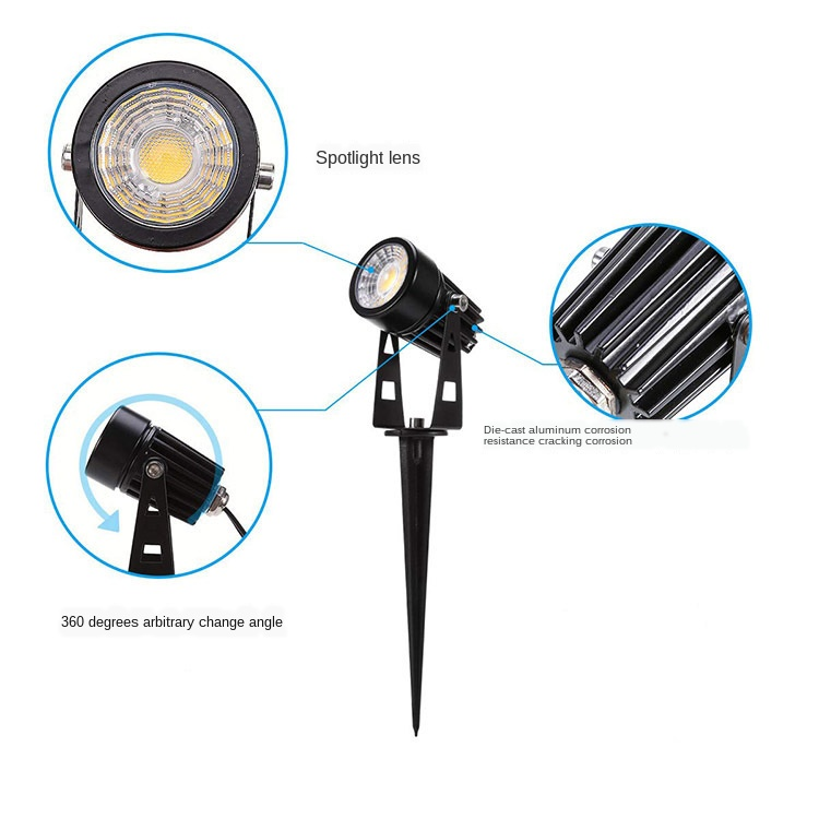 LED Pin Light Lawn Light One Dragging Four Spotlight LED Floodlight Led One to Six Courtyard Lights One Dragging Four Grass 5