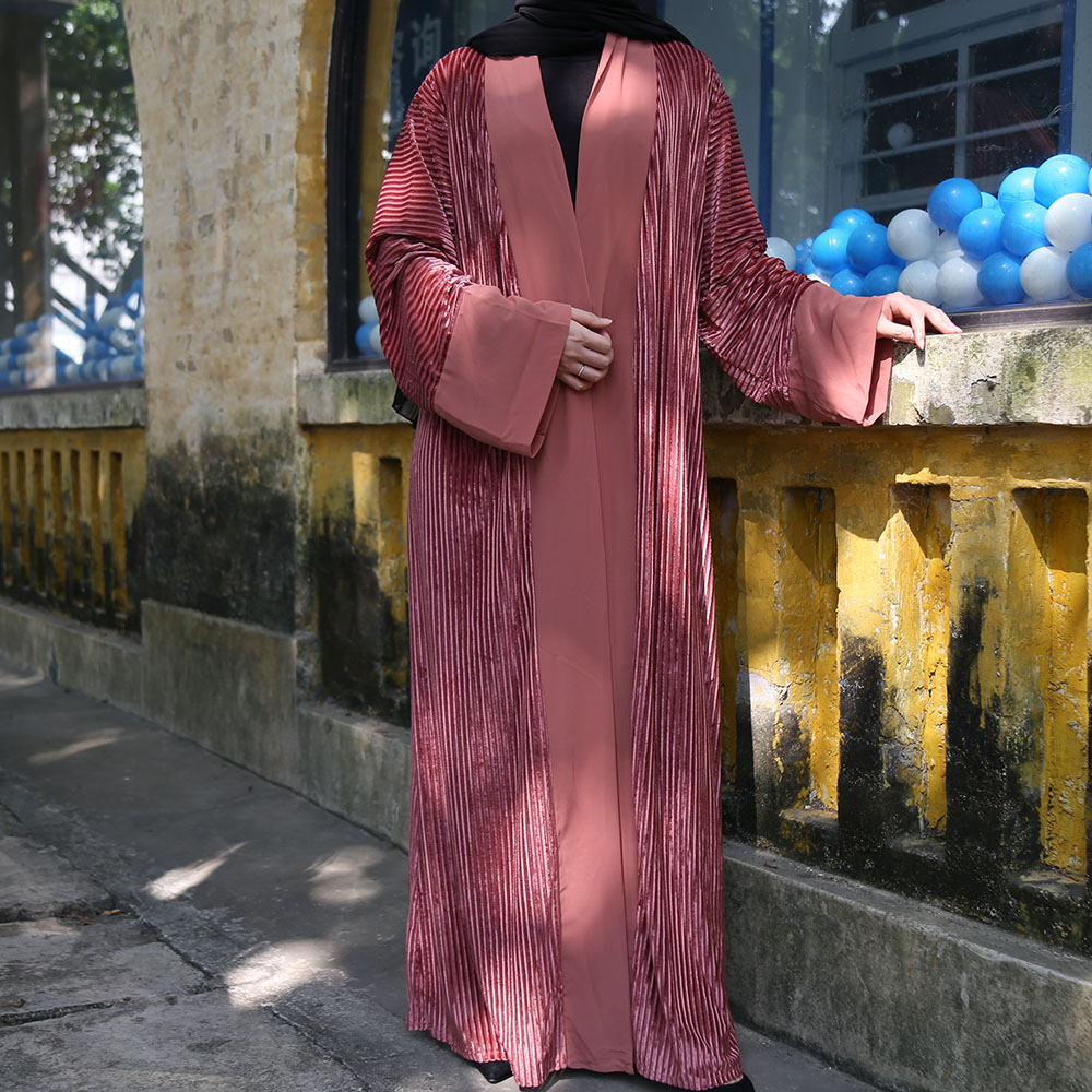 Pink Velvet Abaya Dubai Cardigan Turkish Hijab Muslim Dress Women Saudi Islamic Clothing Kaftans Caftan Kimono Terciopelo Mujer