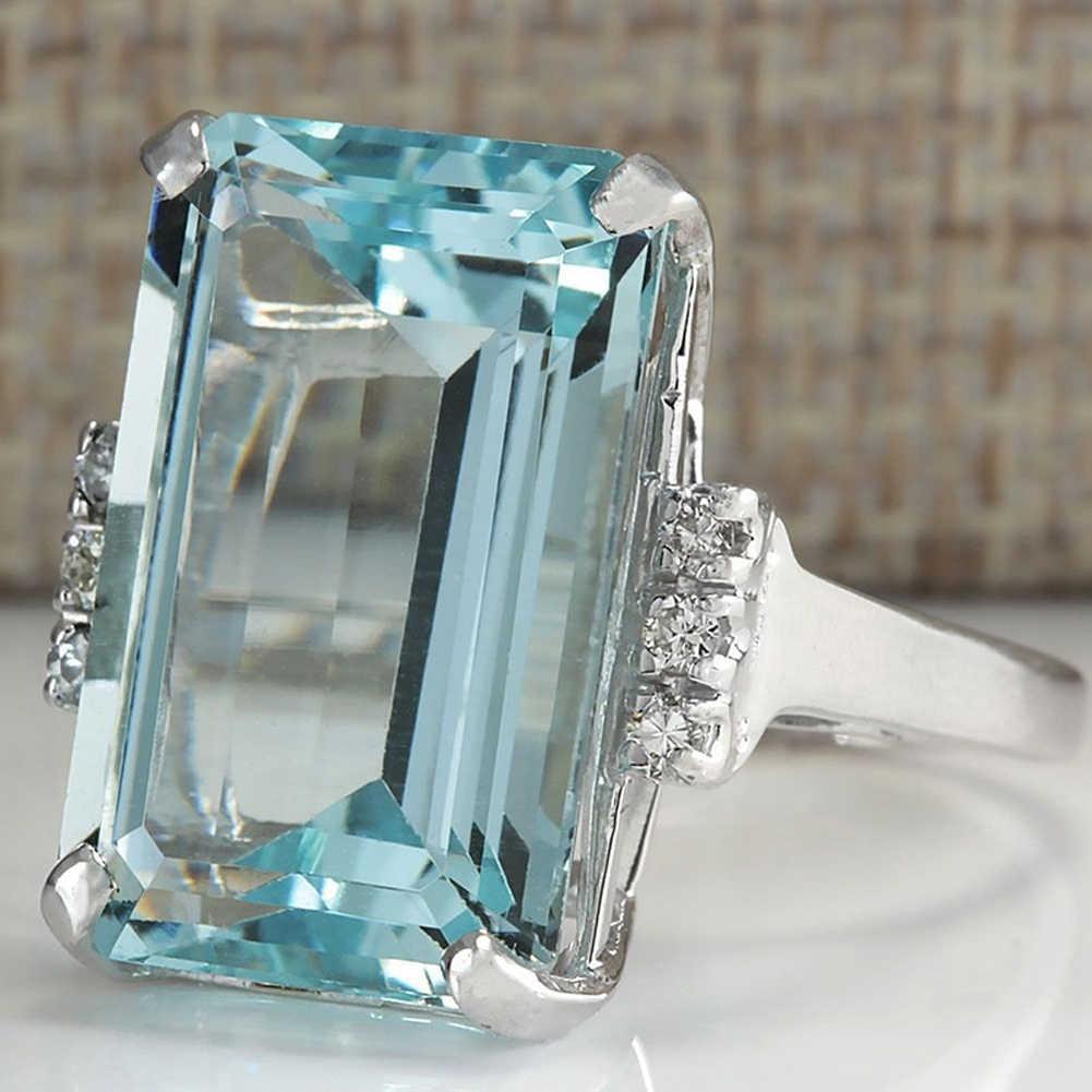 יוקרה כלה טבעת גדול כחול מעוקב זירקון סטון נשים כסף חתונת טבעות אירוסין בציר מסיבת תכשיטי מתנה