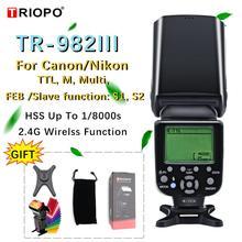 Triopo TR 982III TR 982 III Đèn Flash HSS Đa Màn Hình LCD Không Dây Chủ Nô Lệ Chế Độ Đèn Flash Cho Canon Nikon DSLR Camera