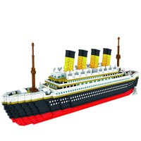 BIG 3800 Pcs Building Block Titanic Cruise Ship Model Boat DIY Assemble Building Diamond Blocks Model Classical Brick Toys