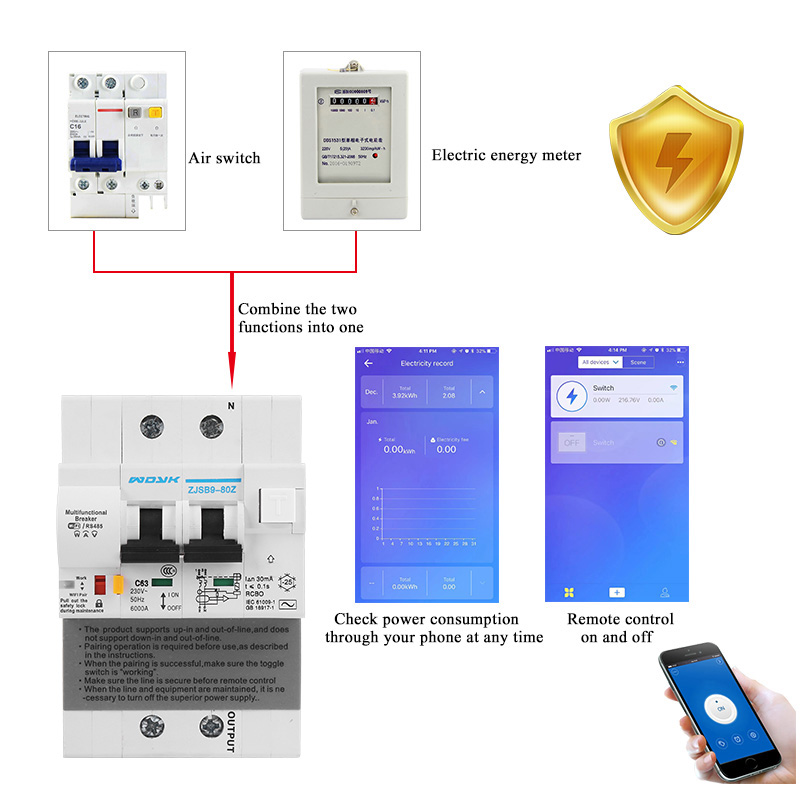 2P WiFi RCBO leakage current Smart Circuit Breaker with Energy monitoring and meter function for Amazon Alexa and Google home
