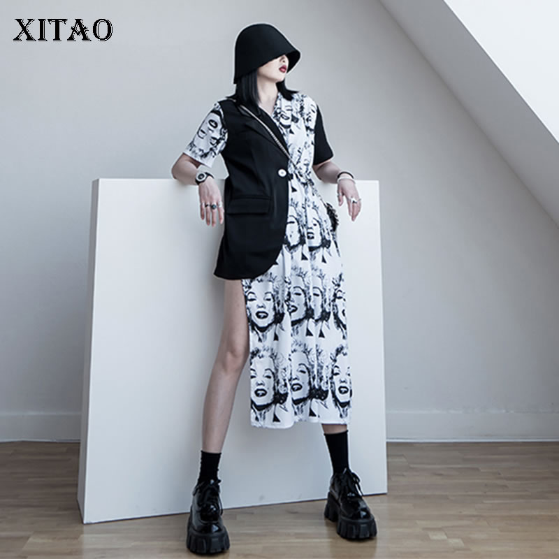 XITAO Hit Color Irregular T Shirt Fashion New Patchwork Pocket Pleated 2020 Spring Straight Goddess Fan Pleated Tee ZLL4820