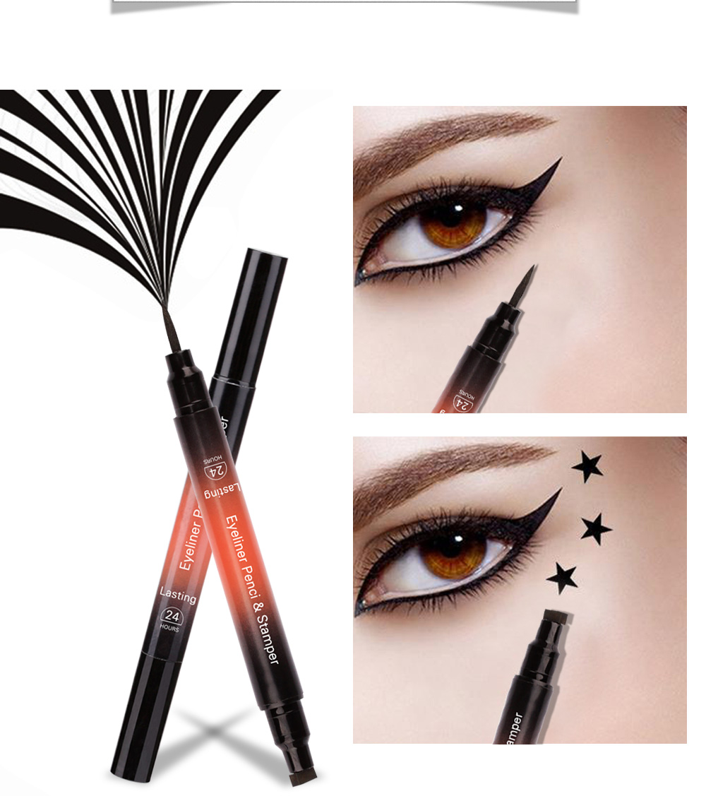 1Pc Double-Headed Seal Liquid Eyeliner Smooth Soft High Quality Lasting Black Eyeliner Pen Beauty Stamp Eyeliner Pencil TSLM2