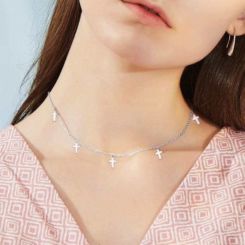 INZATT Real 925 Sterling Silver Geometric Round Star Cross waterdrop Triangle Choker Necklace For Fashion Women Fine Jewelry