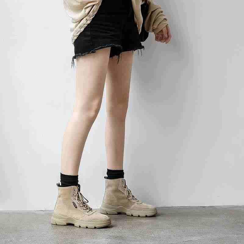 Krazing Pot yeni eğlence tiki tarzı inek deri çizmeler lace up yuvarlak ayak med topuklar nefes kadınlar sıcak moda yarım çizmeler l83