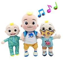 BIG JJ muzyka pluszowa lalka Cocomelon poduszka miękkie zabawki dla dziecka pluszowe JJ lalki edukacyjne nadziewane śpiewać zabawki słodkie dzieci prezent