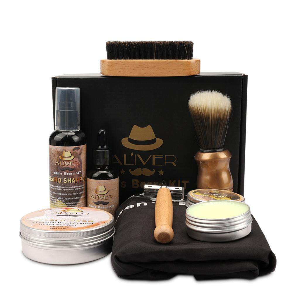 Men Beard Kit Styling Tool Beard Essence Oil Comb Brush With Apron Cloth Moustache Balm Moisturizing Wax Styling Beard Care Set 1