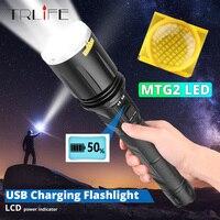 고급 MTG2 줌 USB 충전 LED 손전등 LCD 화면 안전 해머 대형 렌즈 광각 강력한 USB 라이트 손전등