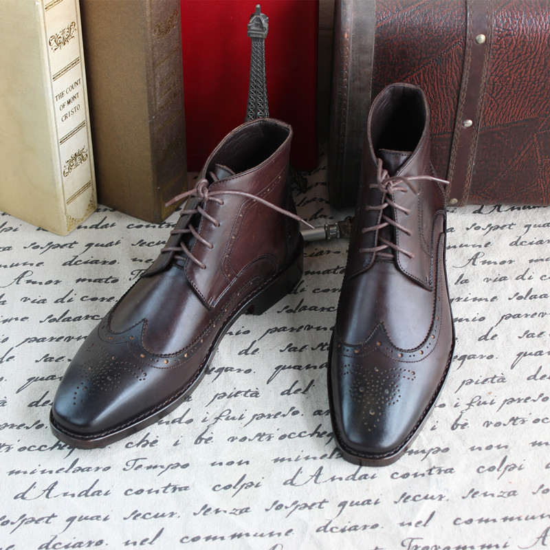 Business High-top Grade Custom-made Shoes Calfskin Sole Wedding Shoes Sapatos Masculino Brogue Carved Cowhide Pointed Toe Ankle