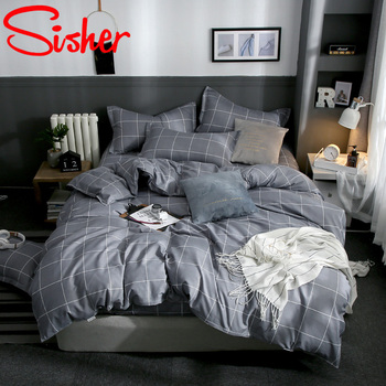Modern King Size Bedding Set Bed Linen Brief Plaid Print Duvet Cover Sets Single Double Queen Bedclothes Adult Kid Quilt Covers geometric print bedding set black stripe king size duvet cover sets single double full queen bed linens quilt covers bedclothes