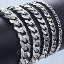 Bracelet Chains Jewelry Cuban Curb Stainless-Steel Mens Women Davieslee for DLKBM05