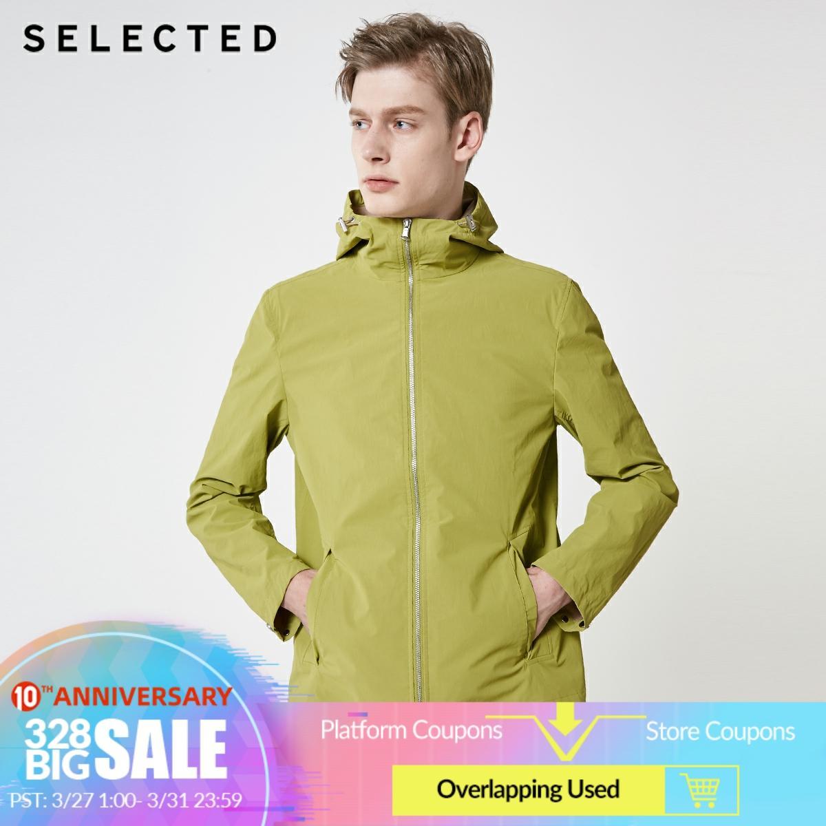 SELECTED Men's Summer Hooded Outwear Light Trench Coat S|4192OM501