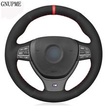Black Genuine Leather Suede Car Steering Wheel Cover For BMW 5 Series 520i 528i F10 F11 F07 2009-2017 M5 F10 2011-2013