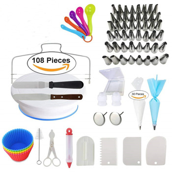 108Pcs/Set Cake Tools DIY Decor Turntable Nozzle Silk Flower Nail Muffin Cup Measuring Spoon Tools Multifunction Accessories NEW