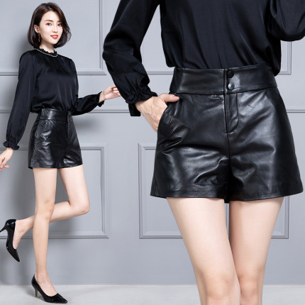 2020 Women New Real Genuine Sheep Leather Shorts KS62
