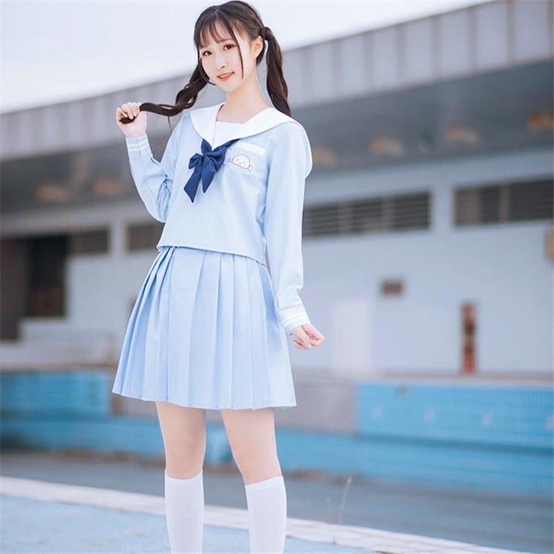 Sky Blue JK Uniforms Japanese School Girl Cosplay Sailor Suits With Navy Blue Bow Tie Cute Anime School Uniform Cosplay Hot