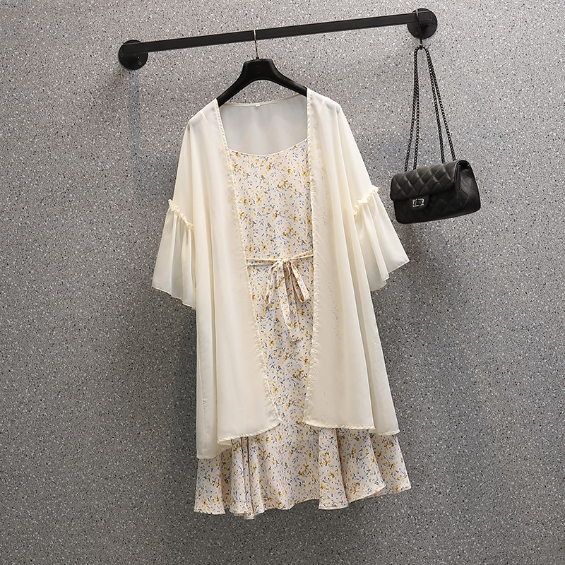 2021 Summer New Style Plus Size Women's Fashion Sun Protection Clothes Chiffon Shirt Casual Tops Floral Dress Two Piece Set