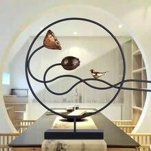 Nouveaux ornements Zen chinois invitant la richesse Lotus créatif ameublement Portraits meuble Tv modèle Tenant Hall fer artisanat