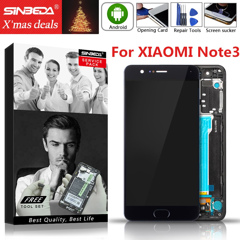 Fingerprint Sensor 5.5Original Display For XIAOMI Mi Note3 LCD Touch Screen with Frame Replacement For XIAOMI Mi Note 3 Display
