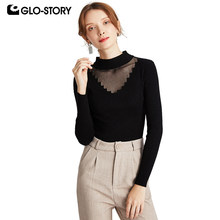 GLO-STORY 2019 Autumn Sexy Women Lace Hollow-Out Pullover Sweaters Long Sleeve Neck Sling Knitted Tops Female 198(China)