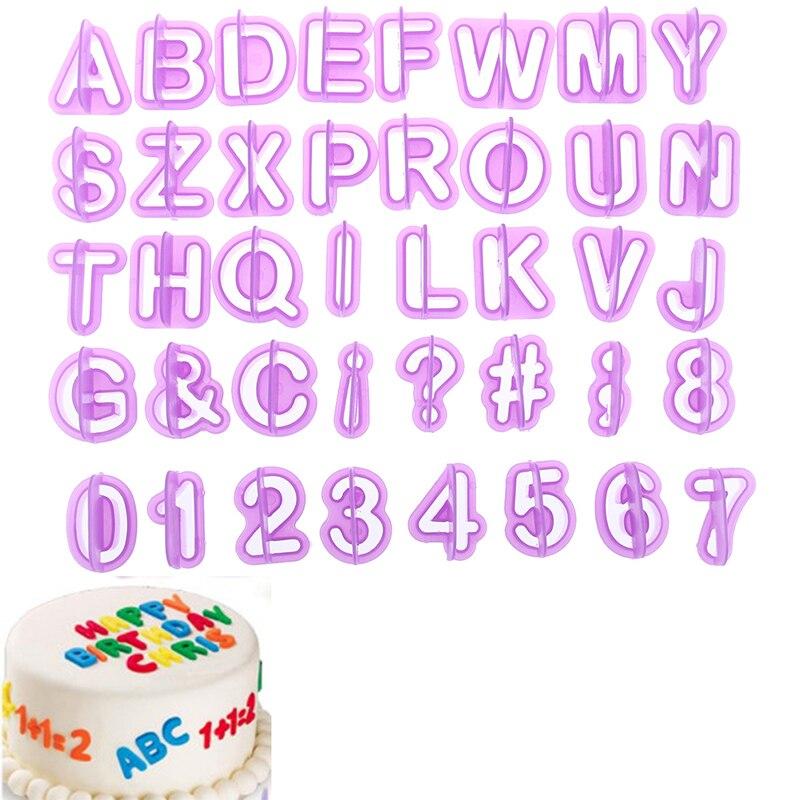 40Pcs Plastic Alphabet Number DIY Mould Mold Cutter Cookies Cake Fondant Baking