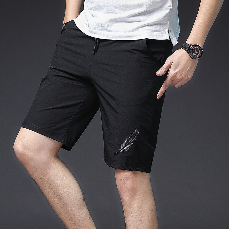 Casual Shorts Man Beach Bermuda Masculina Sport Running Hombre With Size Pocket Embroidery Leaves Sportwear Shorts Elastic Waist