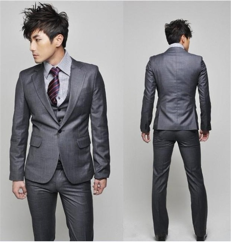 One Button Dark Grey Slim Mens Wedding Suit Skinny Custom Made Outdoor Party Suits Dress (Jacket+Pants+Vest)