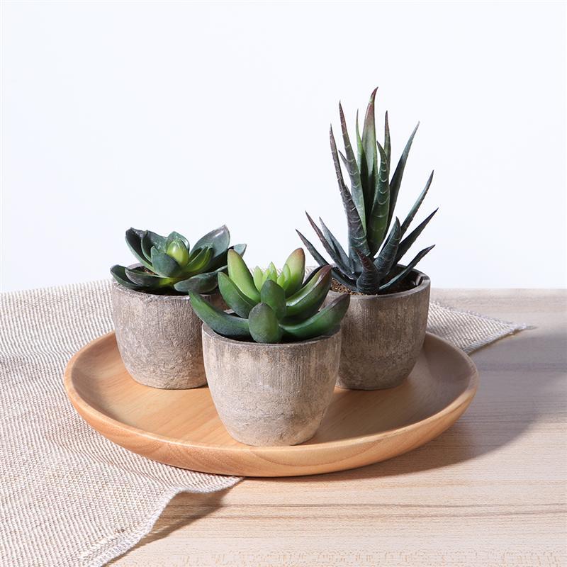OUNONA 3pcs Succulent Plants Bonsai Plant Artificial Flower Desktop Decoration Garden View With Flower Pot Home Decor