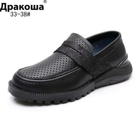 apakowa meninos sapatos de couro genuino deslizamento em estilo plano sapatos de casamento preto estudante
