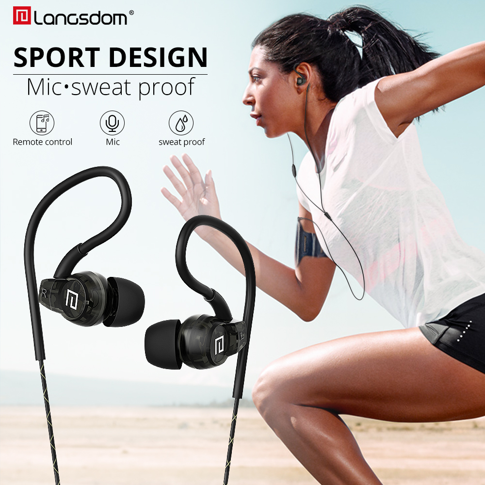 Langsdom Headphone Running Stereo Sport Earphone for Phone Xiaomi Super Bass Headset Hifi Earphone 3.5mm Earbuds with Microphone