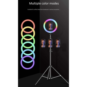 Image 4 - 33cm RGB Ring Light with Phone Clip Dimmable Selfie Light Portable Makeup Lamp LED Desk Fill Light for Smartphone