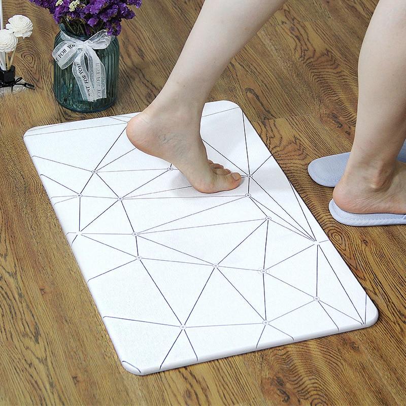 Howhom Geometry Series Diatomaceous Earth Mat Bathroom Kitchen Door Mat Anti-slip Absorbent Quick Drying Customizable Fast