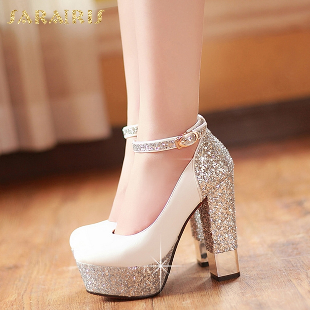 SARAIRIS 2018 Top Quality Large Size 32-43 Bling Upper Pumps Shoes Women High Heels Sexy Party Wedding Bride Shoes Woman