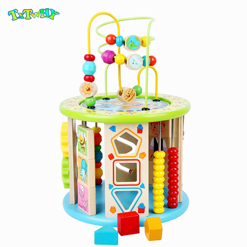 Montessori Wooden Toys 10 In 1 Multipurpose Educational Toy Wood Shape Color Sorter For Kids Early Learning Toy For Kids Gift